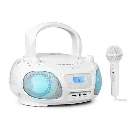 Boombox CD radio UKF odtwarzacz CD Radio mikrofon biały