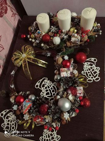 Новорічні віночки і підсвічники, різдвяний декор.