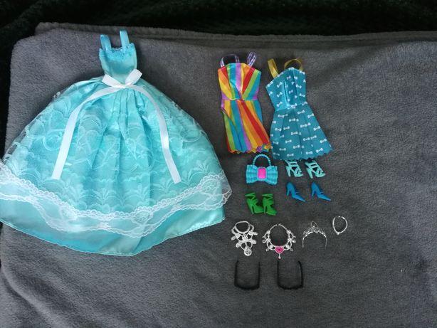 Nowy zestaw dla lalki Barbie i nie tylko, błękitna suknia balowa