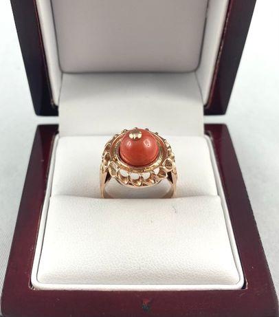 Piękny ZŁOTY pierścionek z KORALEM PR.585 (14K), r.15