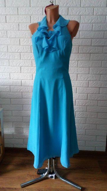 Sukienka krótka rozkloszowana niebieska
