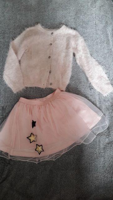 Komplet spodniczka tutu i sweterek moherowy puszysty - 98- 104