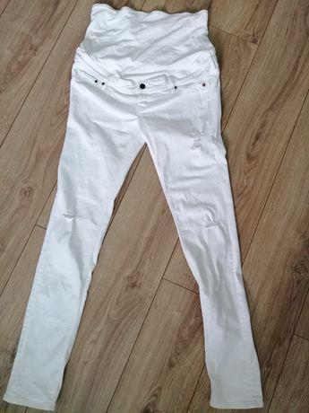 H&m mama jeansy ciążowe 42 z przetarciami białe