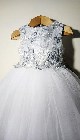 """Пышное детское платье """"Silver Magic """" ."""