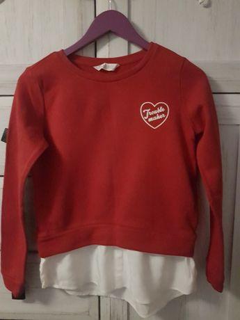 Walentynki Bluzka H&M 146/152 z sercem wstawka/imitacja koszuli bluza