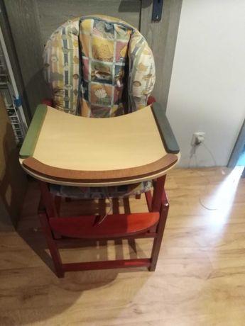 Drewniane krzesełko do karmienia ze stolikiem