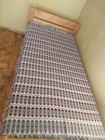 Wełniana tkana narzuta dwustronna kapa na łóżko klim PRL 140x193