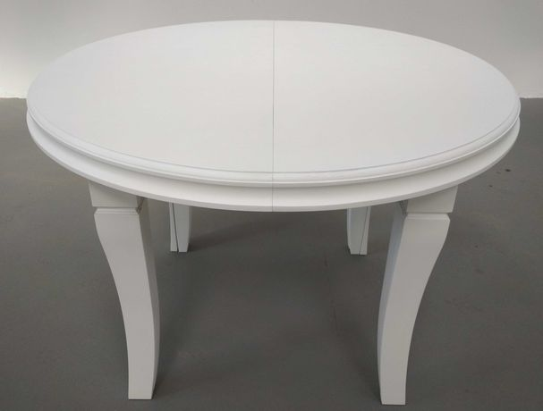 Stół okrągły biały 110 x 410 Mega rozkładany 8 Nóg HiT Dębowy
