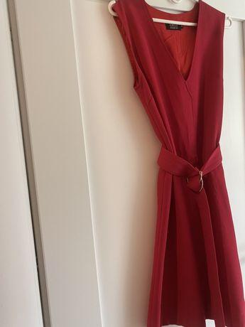 Simple sukienka militarna malinowa 34