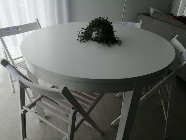 Ikea Bjursta Stół okrągły rozkładany biały