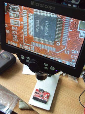Цифровой микроскоп на штативе с монитором 7 дюймов и 12Mp камерой