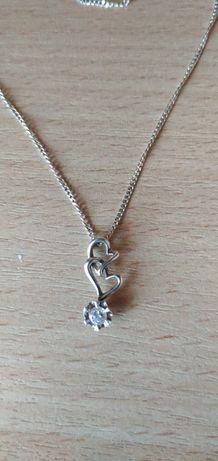 Серебрянная цепочка с кулоном 2 сердца