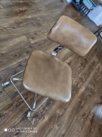Krzesło biurowe obrotowe skórzane retro vintage stare