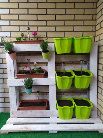 Kwietnik z palety, zielnik, doniczka, skrzynka, meble z palet, balkon