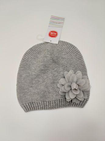 Smyk cool club czapka z kwiatkiem dla dziewczynki szara 48/50 NOWA