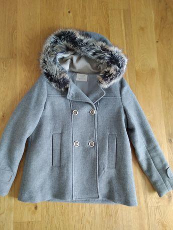 Płaszcz Zara Girls dla dziewczyny wełniany szary