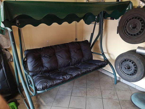 huśtawka ogrodowa 3-osobowa, nowe poduszki, daszek plandeka