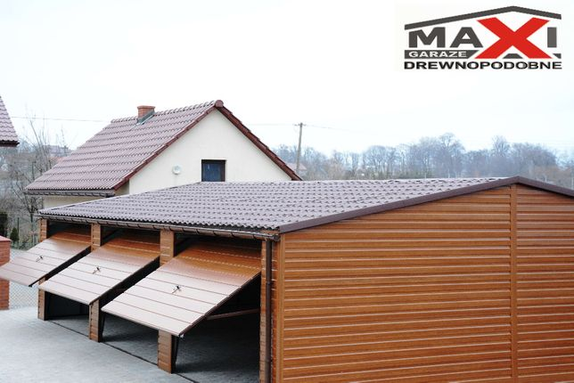 Garaz 5x6 6x6, 6x7, 7x7 KONSTRUKCJA OCYNKOWANA, drewnopodobny profil