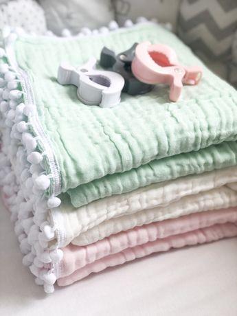 Муслиновый плед разные одеяло конверт на выписку крестины крыжма 6 сл