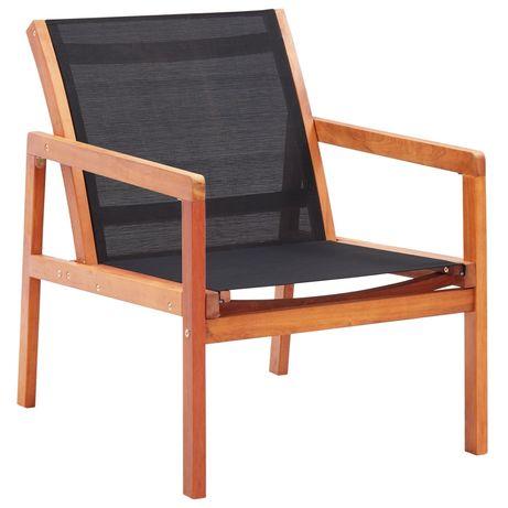 vidaXL Cadeira lounge de jardim eucalipto maciço e textilene preto 48701