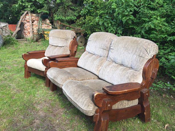 Sofa z fotelem debowy wypoczynek