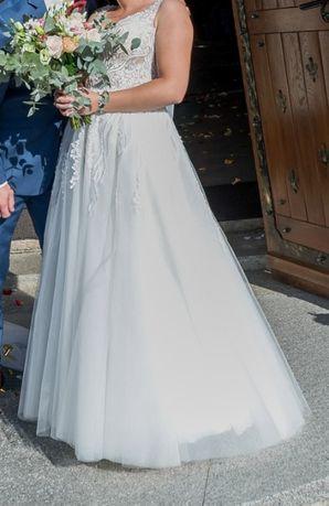 Suknia slubna litera A ivory/smietanka + długi welon 3m