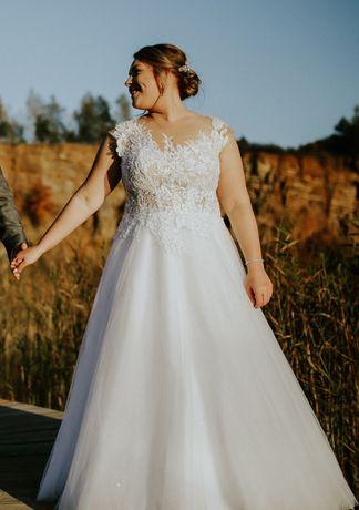 Suknia ślubna plus size Oliwia 42 44 halka i welon gratis