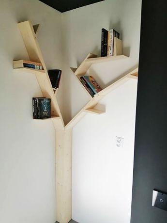 półka na książki regał drzewo narożne