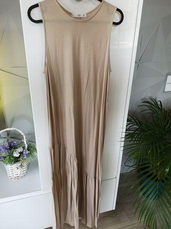 Długa beżowa sukienka Mango
