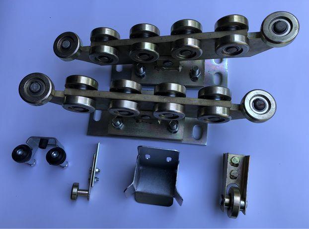 Wózek 10 rolek do bramy przesuwnej 80x80 łapacz rolka najazd