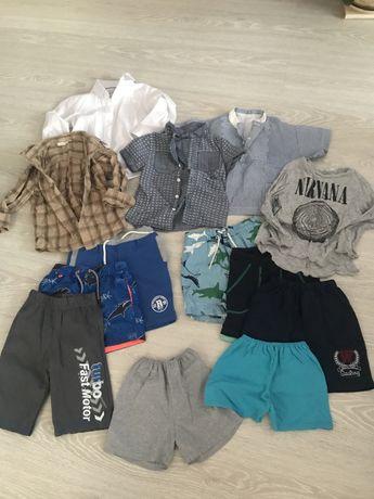 Пакет детских вещей на лето шорты, рубашки ветровка 4-6 лет