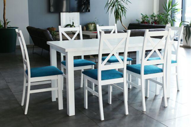 Zestaw biały mat połysk KRZYŻAK stół rozkładany 190/150x80cm 6 krzeseł
