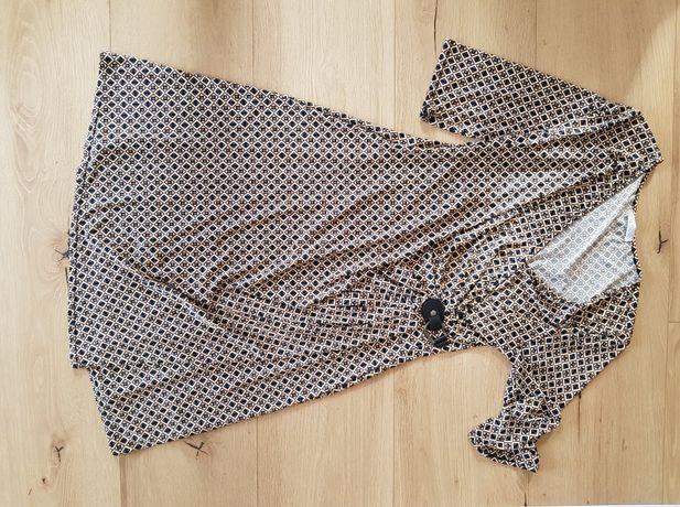 sukienka promod roz L wzory dekolt karo