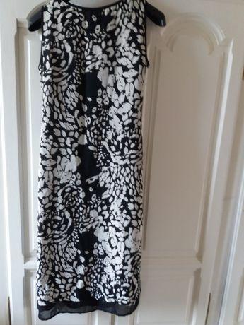 długa czarno-biała letnia sukienka