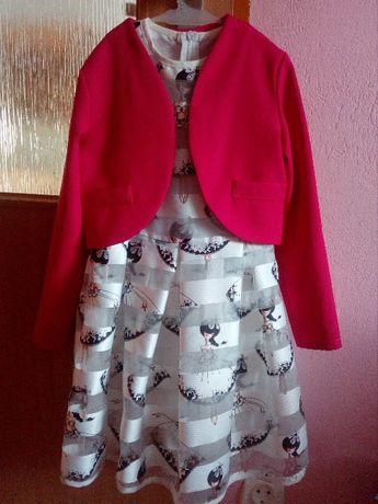 elegancka sukienka z bolerkiem dla dziewczynki roz.134