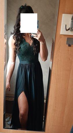 Piękna sukienka butelkowa zieleń 36 S ubrana raz