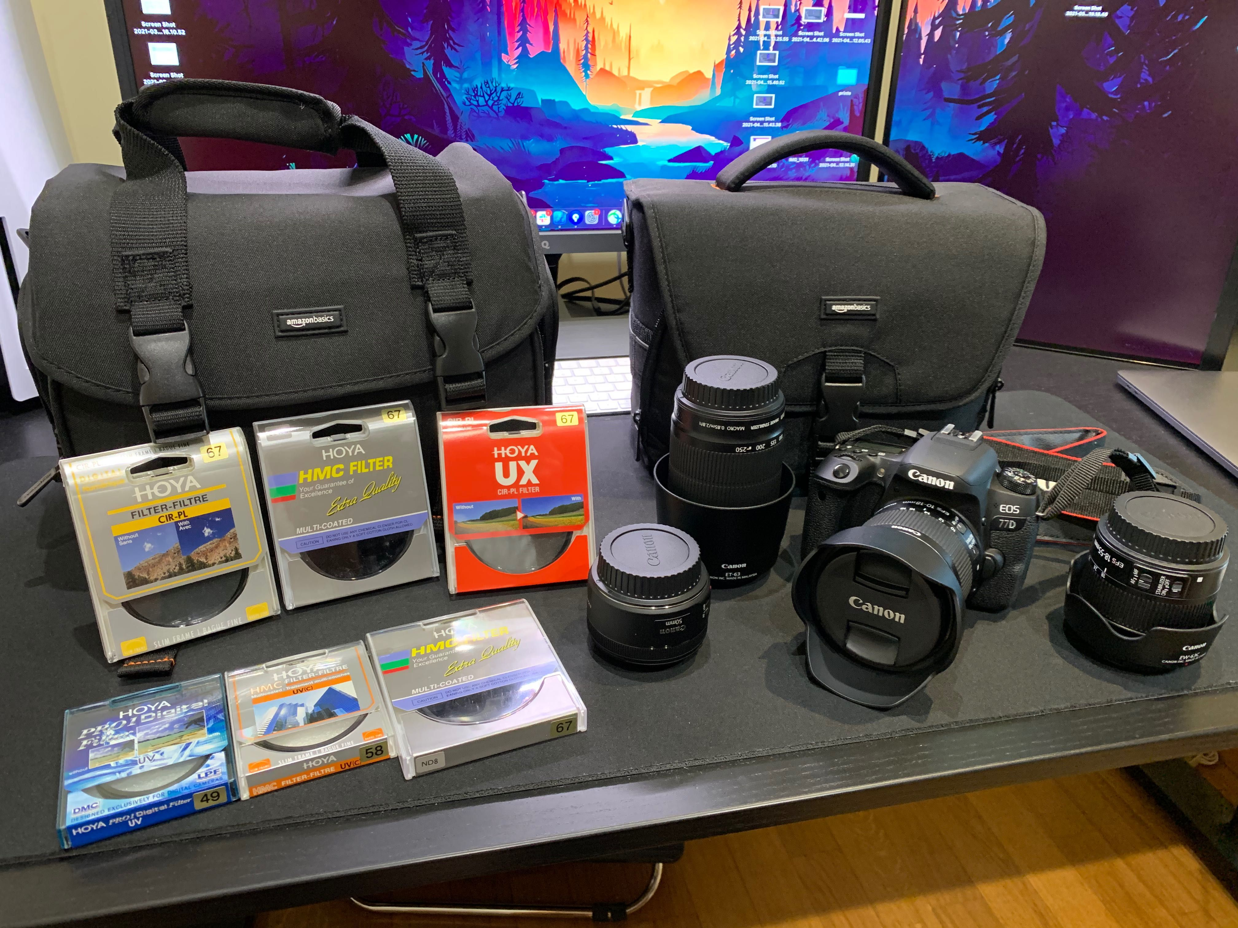 Kit CANON EOS 77D + EF-S 10-18mm + 18-55mm + 55-250mm + EF 50mm