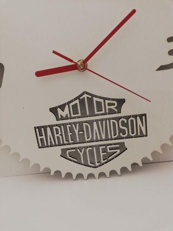 Harley Davidson Zegar biały na ścianę