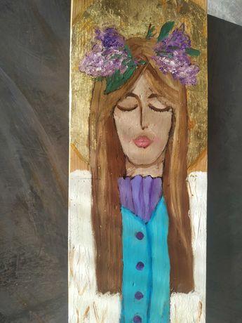 Anioł na desce ręcznie malowany Prezent