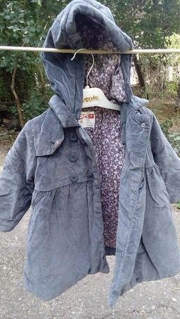 Пальто велюровое серое утепленное 18 мес большемер