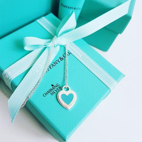Колье LOVE с подвеской в форме сердца и голубой эмалью Tiffany Тиффани