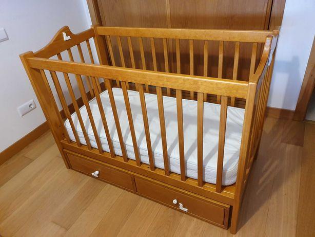 Cama de bebé berço c/ estrado regulável 3 alturas + gavetões + colchão