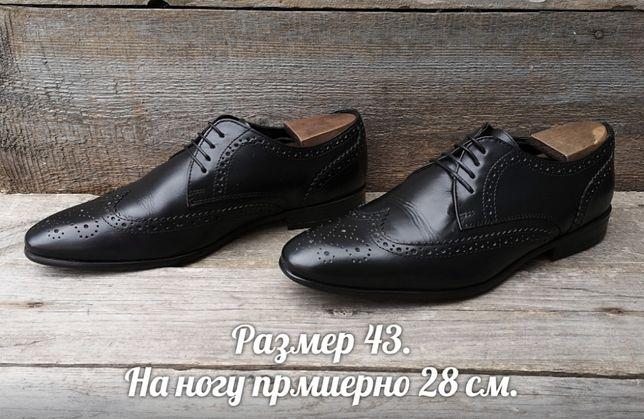 TOPMAN р 43 Кожаные Броги Черные мужские туфли Оксфорды дерби кожа