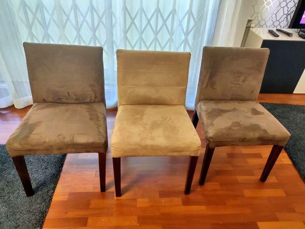Lote de 6 Cadeiras Castanhas/Beges em Madeira