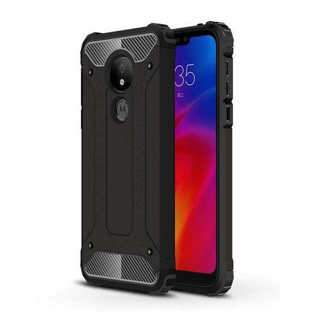 Capa Rígida/Semi Rígida Traseira Hybrid Case Tough Rugged Cover Motorola Moto G7 Power Preto