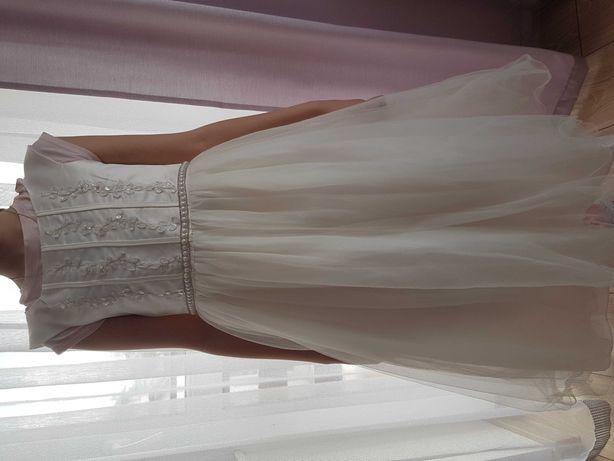 Wójcik lady diamond sukienka 134 tiulowa perełki ecrue komunia