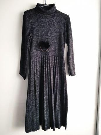 Szara melanżowa sukienka midi