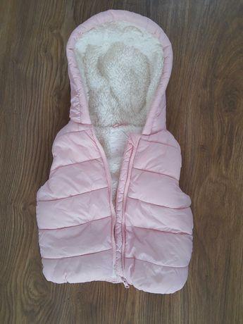 Kamizelka różowa 18-24 miesięcy pikowana dla dziewczynki