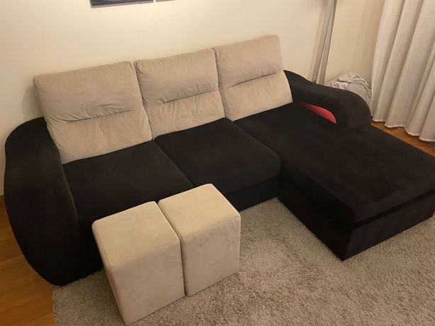 Sofá c/ Chaise com Tecido Aveludado (como novo)