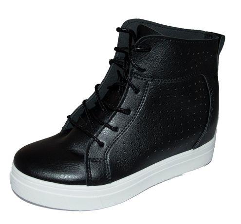 Czarne Sneakersy Skóra Koturn Platforma Dziurki 36-41